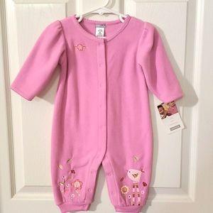 NWT Carter's 9 Months Pink Fleece Snap Onesie